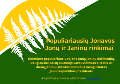Populiariausių Jonavos Jonų ir Janinų rinkimai
