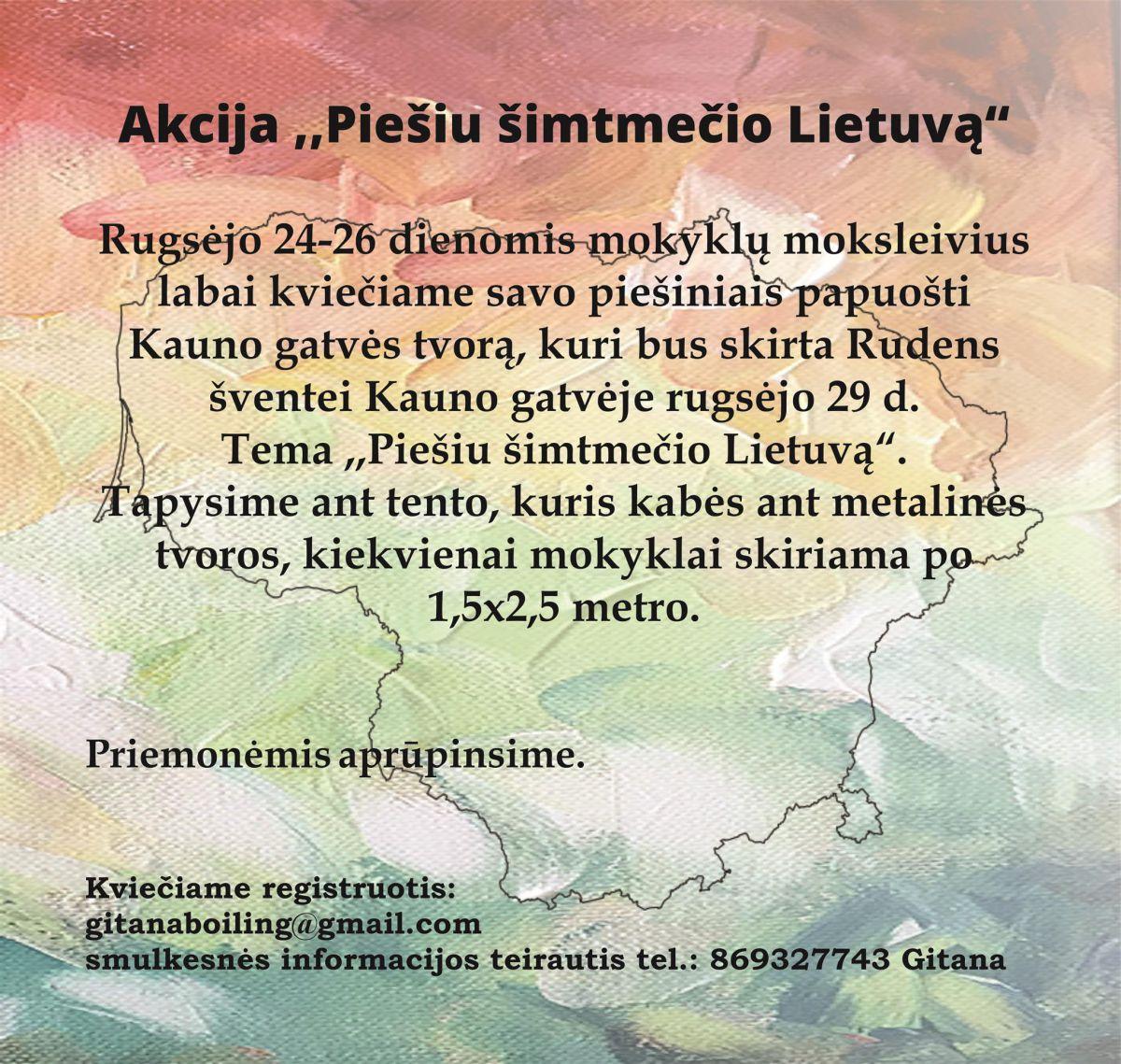 """Akcija """"Piešiu šimtmečio Lietuvą"""