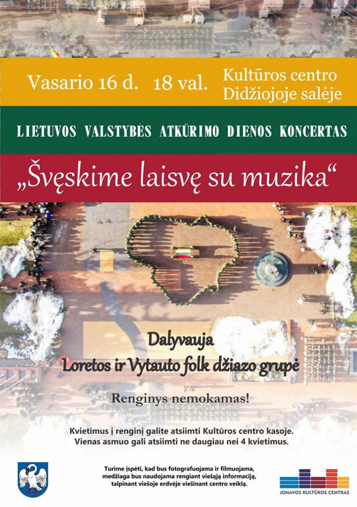 """Vasario 16-oji """"Švęskime laisvę su muziką"""