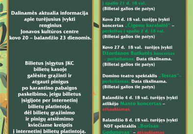 Informacija apie renginius!!