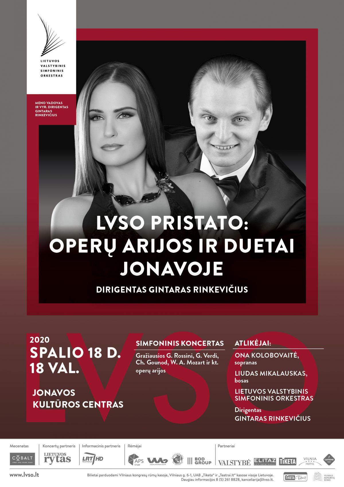 """Simfoninis koncertas """"LVSO PRISTATO: OPERŲ ARIJOS IR DUETAI JONAVOJE"""""""